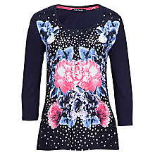 Buy Betty Barclay Floral Spot Print T-Shirt, Dark Blue/Cream Online at johnlewis.com