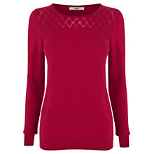Buy Oasis Pointelle Fitted Jumper, Pale Pink Online at johnlewis.com