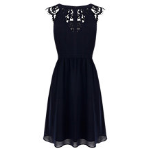 Buy Warehouse Lace Back Soft Dress, Midnight Online at johnlewis.com