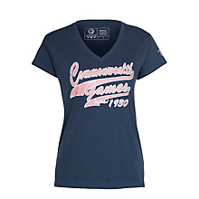 Buy Glasgow 2014 Commonwealth Games Women's Script V-Neck T-Shirt, Navy Online at johnlewis.com