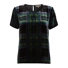Buy Jigsaw Tartan Velvet Silk Shirt, Green Online at johnlewis.com