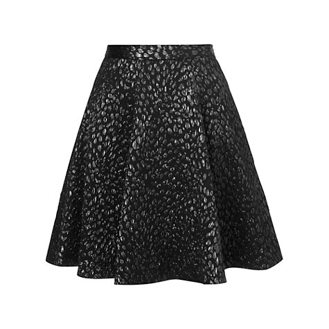 Buy Whistles Leopard Print Jacquard Skater Skirt, Black Online at johnlewis.com