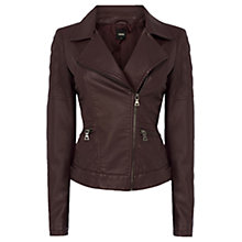 Buy Oasis Sienna Faux Leather Jacket, Burgundy Online at johnlewis.com