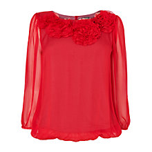 Buy Phase Eight Rosette Silk Blouse, Scarlet Online at johnlewis.com
