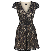 Buy Oasis Wrap Lace Playsuit, Black Online at johnlewis.com