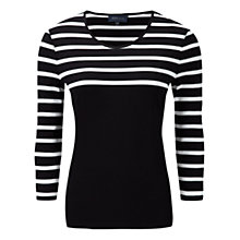 Buy Viyella Breton Striped Top, Black Online at johnlewis.com