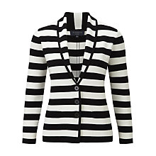 Buy Viyella Petite Monochrome Striped Knitted Cardigan, Black Online at johnlewis.com