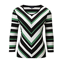 Buy Viyella Chevron Striped Top, Black/Green Online at johnlewis.com