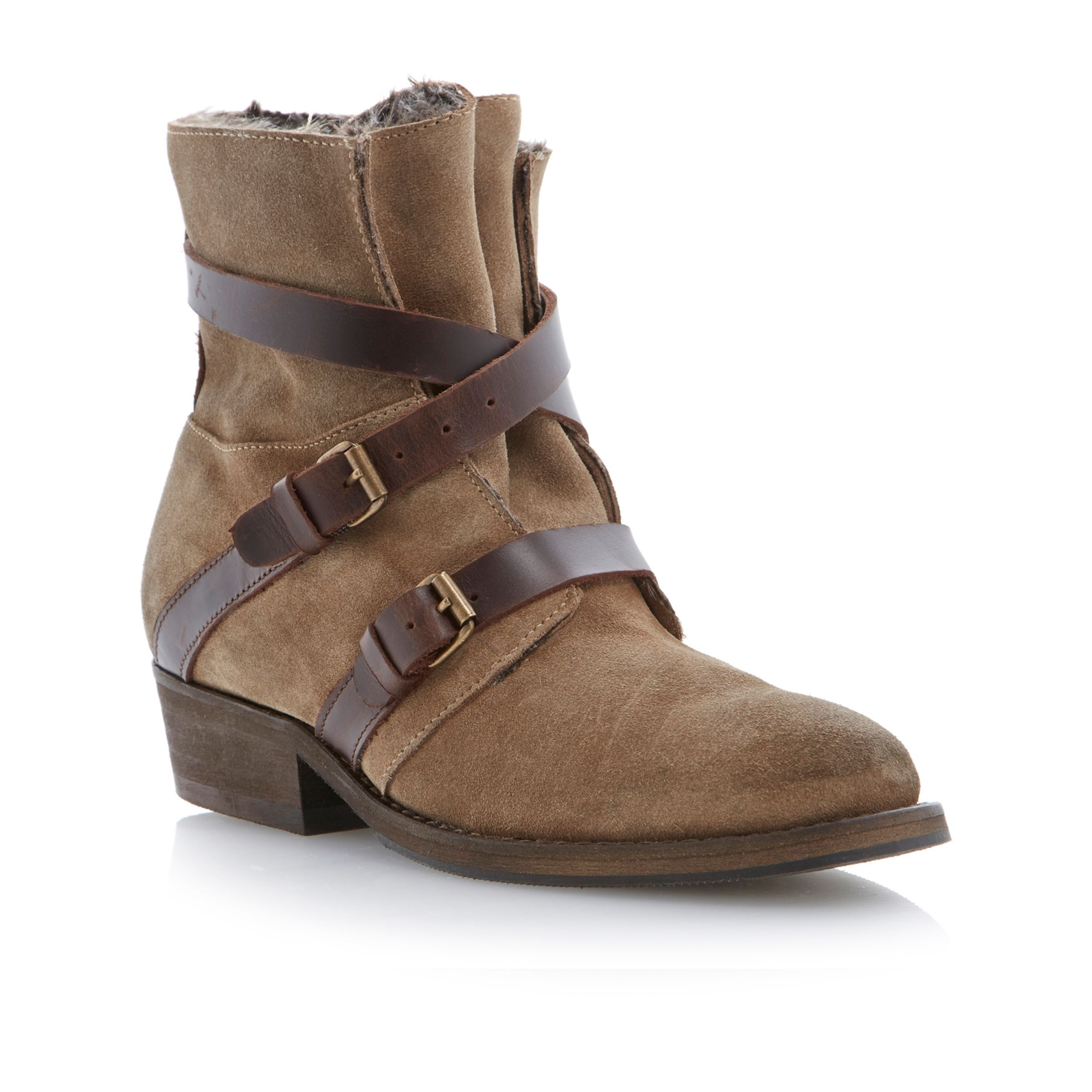 Bertie Poncho Suede Wraparound Strap Ankle Boots, Taupe