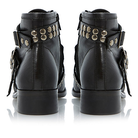 Buy Bertie Punkie Leather Triple Strap Studded Ankle Boots, Black Online at johnlewis.com