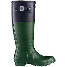 Buy Hunter Women's Original Tour Colour Block Adjustable Wellington Boots, Green / Navy Online at johnlewis.com