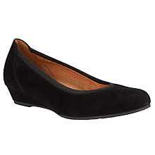 Buy Gabor Chester Suede Wedge Court Shoe, Black Online at johnlewis.com