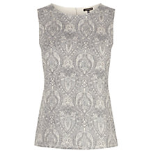 Buy Warehouse Jacquard Front Shell Top, Silver Online at johnlewis.com