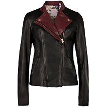Buy Ted Baker Colour Block Leather Jacket, Black Online at johnlewis.com