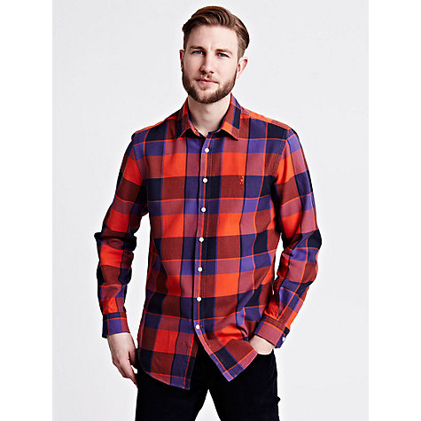 Buy Thomas Pink Stratchey Check Shirt, Orange/Purple Online at johnlewis.com