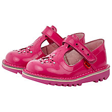 Buy Kickers Star Detail T-Bar Girls' Shoes, Pink Online at johnlewis.com