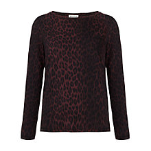 Buy Whistles Paloma Cheetah Print Top, Burgundy Online at johnlewis.com