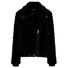 Buy Warehouse Faux Fur Biker Jacket, Black Online at johnlewis.com