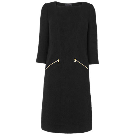 Buy Jaeger Waffle Zip Dress, Black Online at johnlewis.com