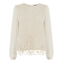 Buy Warehouse Long Sleeve Guipure Lace Top, Cream Online at johnlewis.com