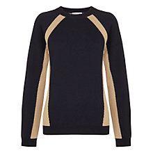 Buy Whistles Jenna Panel Detail Jumper, Navy Online at johnlewis.com