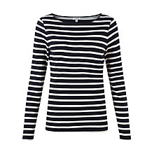 Buy Jigsaw Stripe Amelie Top, Navy Online at johnlewis.com