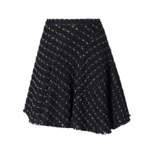 Buy Jigsaw Tweed Asymmetric Mini Skirt, Black Online at johnlewis.com