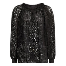 Buy Mango Animal Texture Flowy Blouse, Black Online at johnlewis.com