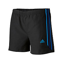 Buy Adidas Boys Essential Striped Shorts, Black/Blue Online at johnlewis.com