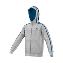 Buy Adidas Boy's Essentials French Terry Full Zip Hoodie, Grey/Blue Online at johnlewis.com