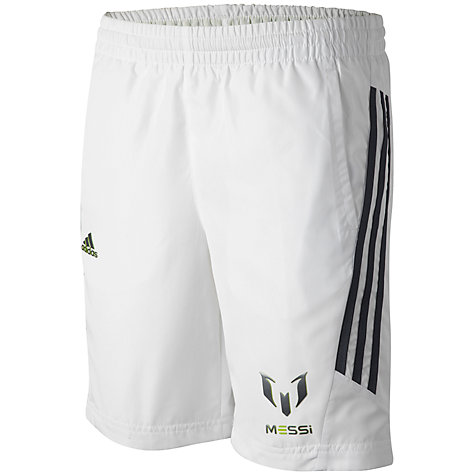 Buy Adidas Boy's Team Messi Woven Shorts, White Online at johnlewis.com