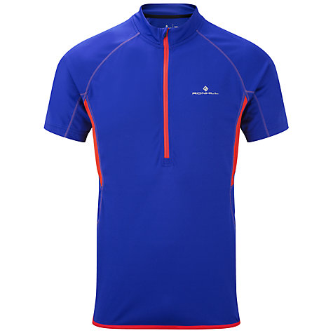 Buy Ronhill Advance Short Sleeve 1/2 Zip T-Shirt, Blue/Orange Online at johnlewis.com