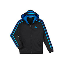 Buy Adidas Boy's Essential Full Zip Hoodie, Black/Blue Online at johnlewis.com