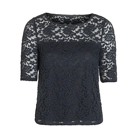 Buy Somerset by Alice Temperley Stretch Lace Top, Grey Online at johnlewis.com