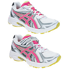 Buy Asics Galaxy Trainers, White/Silver/Pink Online at johnlewis.com
