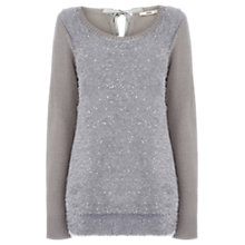Buy Oasis Sequin Fluffy Front Top Online at johnlewis.com