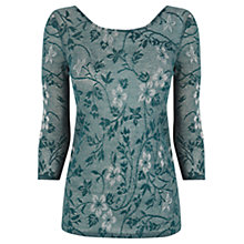 Buy Oasis Floral Sparkle Scoop Back Top, Turquoise Online at johnlewis.com