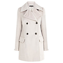 Buy Warehouse Biker Detail Reefer Coat, Light Grey Online at johnlewis.com