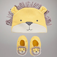Buy John Lewis Baby Cotton Knit Lion Hat & Booties, Yellow Online at johnlewis.com