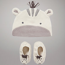 Buy John Lewis Baby Cotton Knit Zebra Hat & Booties, Cream/Grey Online at johnlewis.com