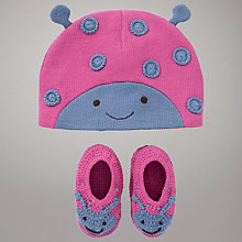 Buy John Lewis Baby Cotton Knit Ladybird Hat & Booties, Pink/Purple Online at johnlewis.com