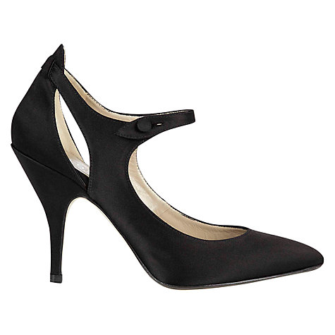 Buy Hobbs London Adele Court Shoes, Black Satin Online at johnlewis.com
