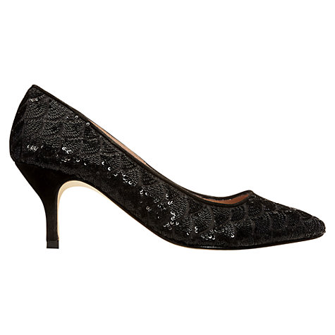 Buy Jigsaw Chicago Sequin Court Shoes, Black Online at johnlewis.com