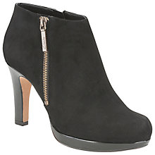 Buy Clarks Kendra Suede Stiletto Heel Shoe Boots, Black Online at johnlewis.com