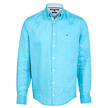 Buy Tommy Hilfiger Linen Long Sleeve Shirt, Blue Online at johnlewis.com