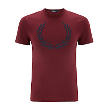 Buy Fred Perry Vintage Flocked Logo T-Shirt, Port Online at johnlewis.com