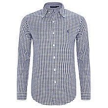 Buy Polo Golf by Ralph Lauren Custom Fit Gingham Long Sleeve Shirt, Navy/White Online at johnlewis.com