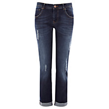 Buy Warehouse Distressed Boyfriend Skinny Jeans, Dark Wash Denim Online at johnlewis.com