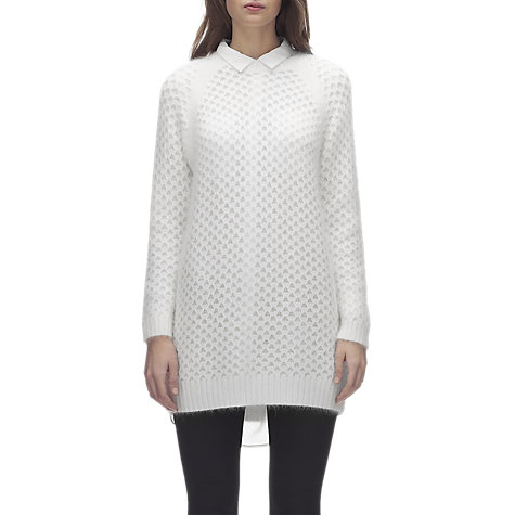 Buy Whistles Longline Angora Knitted Dress, Ivory Online at johnlewis.com