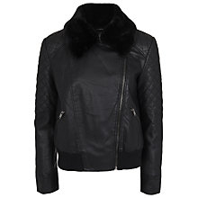 Buy French Connection Jet Faux Fur Quilted Jacket, Black Online at johnlewis.com